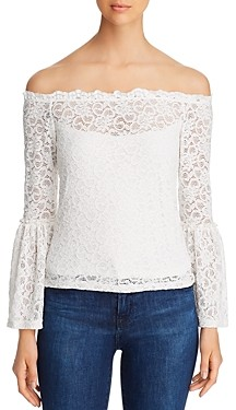 Red Haute Off-the-Shoulder Lace Top