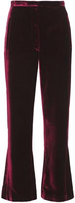 KHAITE Audrey Cropped Velvet Straight-leg Pants