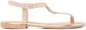 Forever New Scarlet Tbar Ring Sandal - Nude Croc - 38