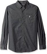 U.S. Polo Assn. Men's Long Sleeve Solid Cotton Poplin Heathered Sport Shirt