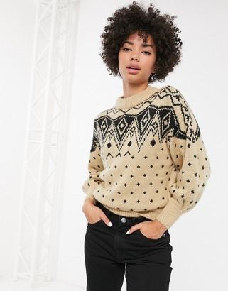 Monki fair isle print crew neck sweater in cream