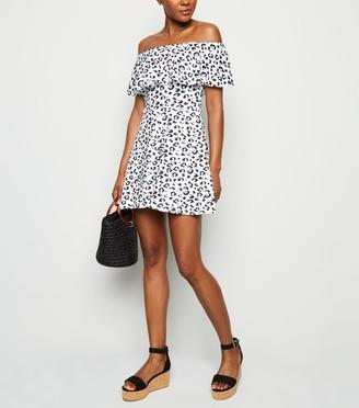 New Look Leopard Print Ruffle Trim Bardot Playsuit