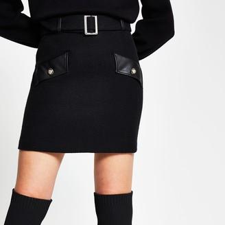 River Island Womens Black boucle pu mini skirt