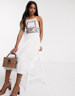 ASOS DESIGN square neck tiered midi dress with lace and embroidery in white