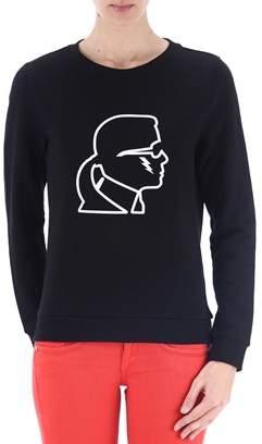 Karl Lagerfeld Women's Black Cotton Sweatshirt.