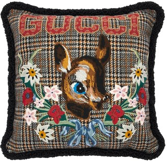 Gucci Bambi Embroidered Vintage Check Pillow
