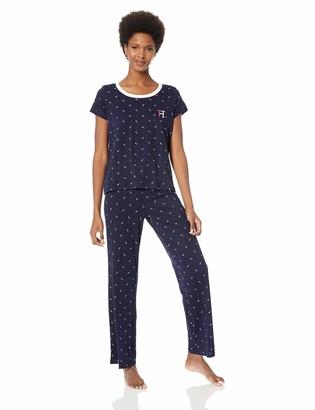 Tommy Hilfiger Women's Short Sleeve Top Shirt and Logo Pant Lounge Bottom Pj Set