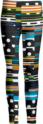 Lily Women's Leggings BLK - Black & Turquoise Polka Dot Stripe Abstract Leggings - Women & Plus