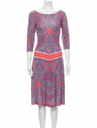Etro Paisley Print Midi Length Dress Purple