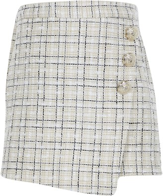 River Island Girls Cream rose button wrap skorts
