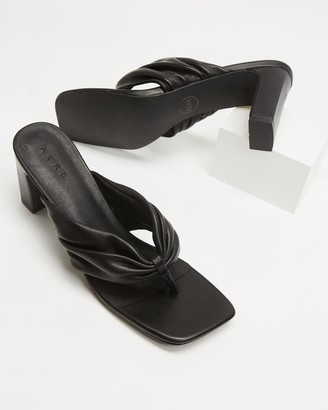 AERE - Women's Black Open Toe Heels - Ruched Leather Thong Heels - Size 6 at The Iconic