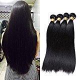 Jaycee Hair 7a Brazilian Virgin Hair Silky Straight Weft 4 Bundles 100% Unprocessed Human Hair Extensions Natural Color (100+/-5g)/pc(16 18 20 22)
