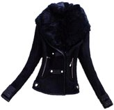 Hittime Womens Slim Fit Fur Collar Coat Short Jacket Winter Warm Tops -L