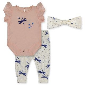 Jessica Simpson Baby Girl Bodysuit, Hammer Pant & Headband Outfit, 3pc set