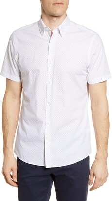 Nordstrom Trim Fit Arrow Print Non-Iron Short Sleeve Button-Up Shirt