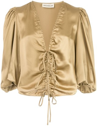 Nicholas Metallic Lace-Up Blouse