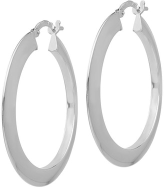 Italian Silver Knife-Edge Hoop Earrings, Sterling