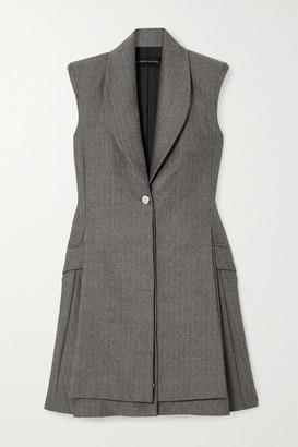 Brandon Maxwell Herringbone Wool Mini Dress - Gray