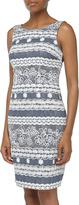 Muse Sleeveless Lace Contrast Sheath Dress, Denim/Ivory