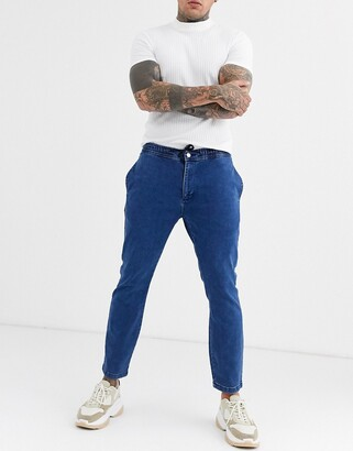 Topman denim joggers in washed blue