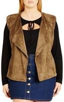 City Chic Faux Suede Biker Vest (Plus Size)