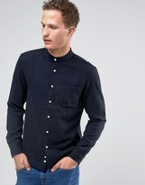 Celio Long Sleeve Regular Fit Longline Grandad Collar shirt in Micro Check
