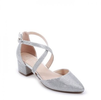 Paradox London Glitter Mesh 'Francis' Wide Fit Low Heel Two Part Shoe
