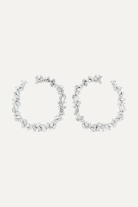 Suzanne Kalan 32mm 18-karat White Gold Diamond Hoop Earrings - one size
