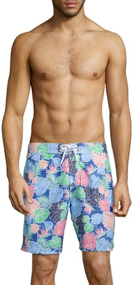 Trunks Surf + Swim Multicolor Palm Leaf-Print Swim Trunks