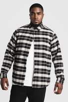 BoohoomanBoohooMAN Mens Black Big & Tall Shirt With Contrast Check, Black