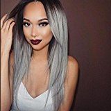 Superwigy® Long Straight Hair Two Tone Black and Grey Ombre Wig Heat Resistant Fiber Synthetic Wigs