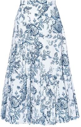 Erdem Gaura Toile De Jouy Cotton-poplin Pleated Skirt - Blue Multi