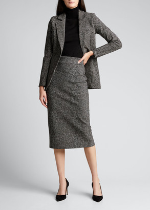 Chiara Boni Delfina Houndstooth Printed Knee-Length Pencil Skirt