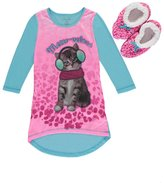 "Rene Rofe Little Girls' ""Kitten Accessories"" Nightgown with Slippers"