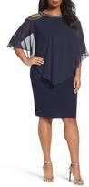 Alex Evenings Plus Size Women's Embellished Cold Shoulder Overlay Cocktail Dress