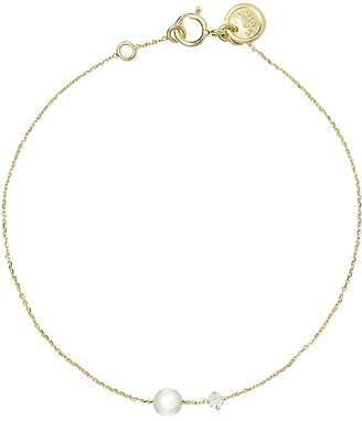 Sweet Pea Pearl and Diamond Chain Bracelet - Yellow Gold