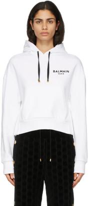 Balmain White Flocked Logo Hoodie