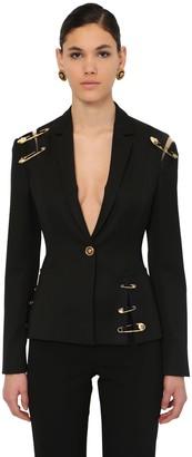 Versace Single Breast Gabardine Jacket W/pins