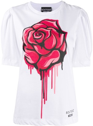 Boutique Moschino rose print puff sleeve T-shirt