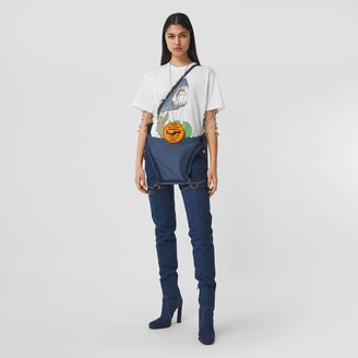 Burberry Marine Sketch Print Cotton Oversized T-shirt