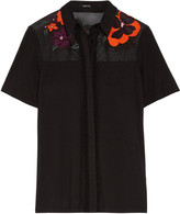 Raoul Fina embroidered mesh-paneled stretch-jersey blouse