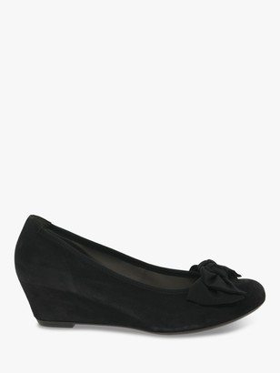 Gabor Fallon Suede Wedge Heeled Court Shoes, Black