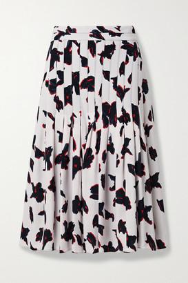Proenza Schouler Pleated Floral-print Georgette Midi Skirt - White