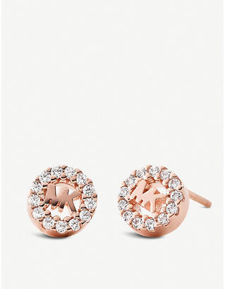Michael Kors Round monogram rose gold-plated and pave embellishment stud earrings