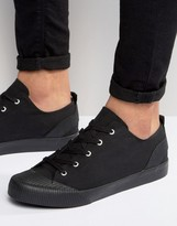 Asos Lace Up Sneakers in Black With Rubber Detailing