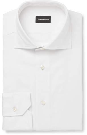 Ermenegildo Zegna White Slim-Fit Cutaway-Collar Cotton-Piqué Shirt