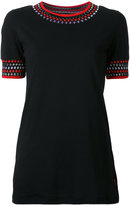 Missoni geometric collar embroidery T-shirt - women - Nylon/Polyester/Rayon - S