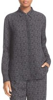 Vince Covered Placket Print Silk Shirt