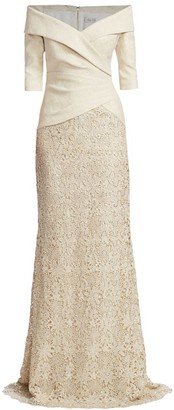 Teri Jon by Rickie Freeman Off-The-Shoulder Glitter Metallic & Lace Skirt Combo Gown