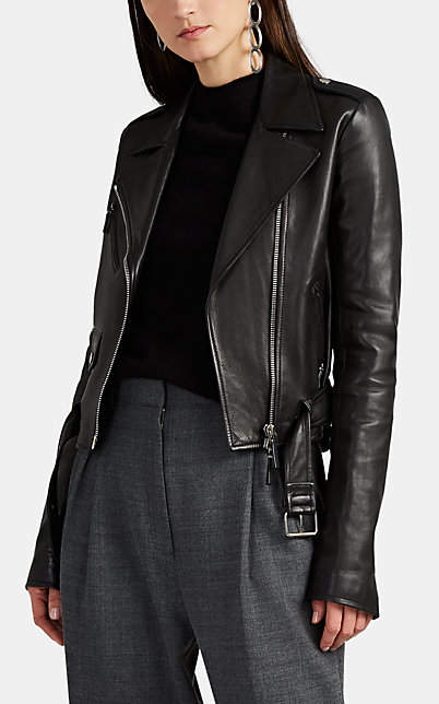 The Row Women's Perlin Leather Moto Jacket - Black